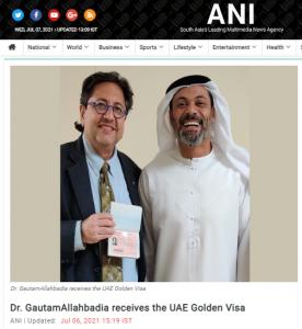 Dr Gautam Allahbadia gets UAE Golden Visa